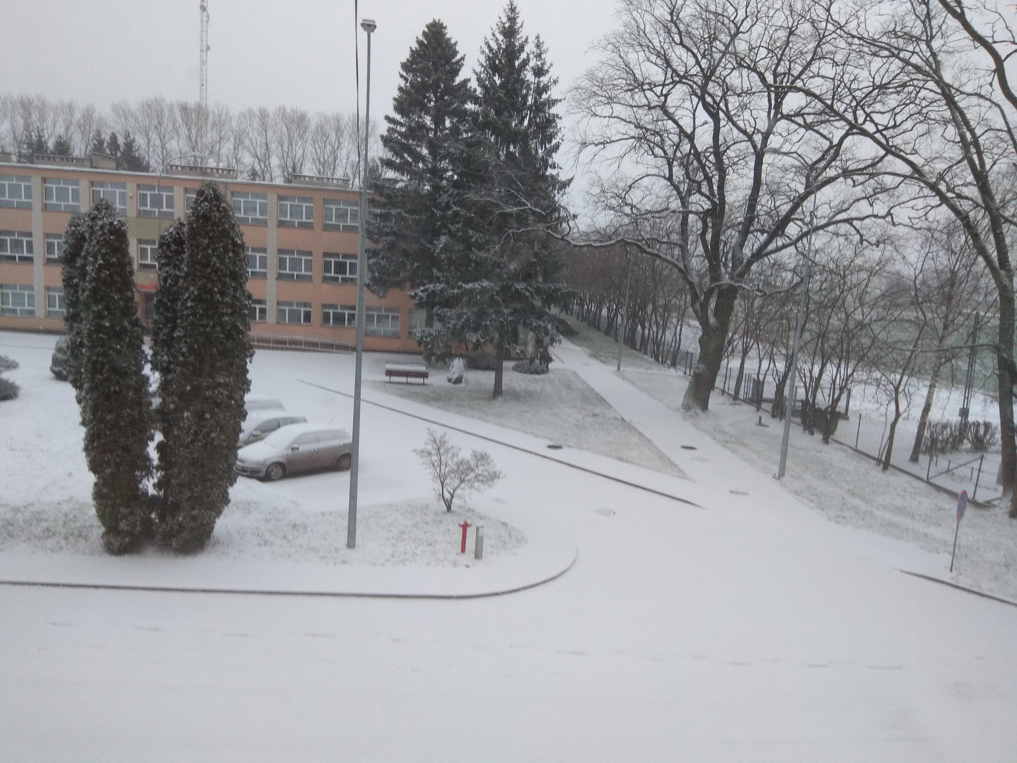 Zimowa odsłona ośrodka w Krzyżewie – z lewej widoczny trzypoziomowy  budynek wśród ośnieżonych iglaków, a z prawej wysokie drzewa, otoczenie pokryte śniegiem.